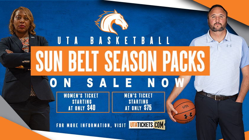 Sun Belt Season Packs with images of Coach Ogden and Coach Wright